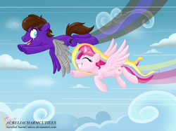 Size: 2748x2059 | Tagged: alicorn, alicorn oc, artist:aureliacharmcutiees, cloud, commission, flight, flight trail, friendship, mech wings, oc, oc:aurelia charm, oc:nightwind, oc only, race, racing, safe, sky