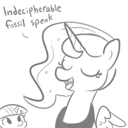 Size: 1650x1650 | Tagged: safe, artist:tjpones, princess luna, twilight sparkle, alicorn, pony, descriptive noise, dialogue, duo, eyes closed, female, grayscale, horn, mare, monochrome, simple background, white background, wings, ye olde english