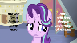 Size: 1920x1080 | Tagged: safe, edit, edited screencap, screencap, starlight glimmer, marks for effort, ashamed, book, door, drawer, frown, globe, gritted teeth, guidance counselor, image macro, looking away, meme, sad, school of friendship, shame, solo, starlight's office, text
