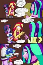 Size: 1000x1500 | Tagged: safe, artist:jake heritagu, aria blaze, sci-twi, sunset shimmer, twilight sparkle, oc, oc:sparkling sapphire, comic:aria's archives, comic:of babes and heartbreaks, series:sciset diary, equestria girls, rainbow rocks, angry, baby, clothes, comic, eyes closed, female, glasses, lesbian, magical lesbian spawn, offspring, open mouth, parent:sci-twi, parent:sunset shimmer, parents:scitwishimmer, scitwishimmer, shipping, sunsetsparkle