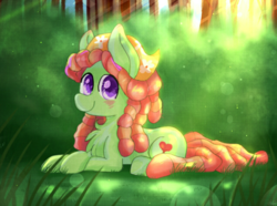 Size: 1351x1007 | Tagged: safe, artist:pink-pone, artist:whiskyice, tree hugger, earth pony, pony, blushing, chest fluff, female, forest, happy, huggerbetes, looking at you, mare, prone, smiling, solo, tree