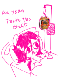 Size: 882x1166 | Tagged: safe, artist:whydomenhavenipples, oc, oc only, oc:floor bored, aw yeah, bed, food, funny, hospital, hospital bed, instant noodles, instant ramen, intravenous, noodles, ramen, solo, wat