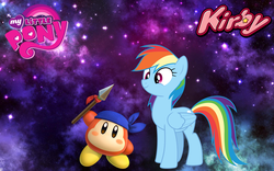 Size: 1440x900 | Tagged: artist:arcgaming91, artist:mortris, crossover, kirby, kirby star allies, rainbow dash, safe
