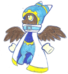Size: 523x574 | Tagged: safe, artist:greenrio, pony, kirby, magolor, ponified, simple background, solo, traditional art, white background