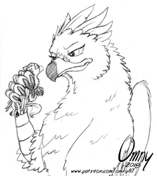 Size: 700x783 | Tagged: safe, artist:omny87, oc, oc only, oc:der, oc:serilde, griffon, duo, female, fist, glare, male, micro, monochrome, sketch, talons