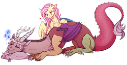 Size: 2342x1195   Tagged: safe, artist:1an1, discord, fluttershy, draconequus, pegasus, pony, discoshy, female, heart, male, shipping, simple background, sleeping, straight, white background, z, zzz