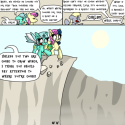 Size: 1000x1000 | Tagged: artist:bjdazzle, atg 2018, blushing, bon bon, bon bon is not amused, canyon, chibi, cliff, comic, comic:accidental transit guardians, derpy hooves, earth pony, female, implied lesbian, implied lyrabon, implied shipping, looking back, lyra heartstrings, mare, near death, newbie artist training grounds, panic, pegasus, pony, reaching, rubble, saddle bag, safe, sun, sweetie drops, talking, unamused, unicorn, walking