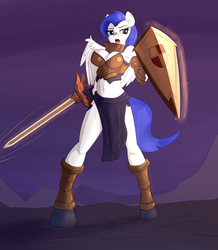 Size: 1769x2029 | Tagged: safe, artist:sapsan, oc, oc:shining shield, anthro, pegasus, armor, shield, sword, unconvincing armor, weapon