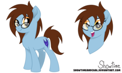 Size: 7539x4500 | Tagged: safe, artist:showtimeandcoal, oc, oc only, oc:amber pura, oc:caitbug, earth pony, pony, absurd resolution, digital art, female, filly, full body, glasses, head shot, mare, movie accurate, present, reference, reference sheet, simple background, solo, spectacles, style, transparent background