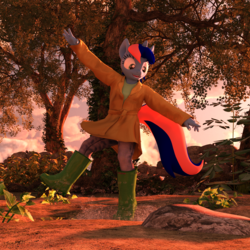 Size: 2000x2000 | Tagged: safe, artist:tahublade7, oc, oc:ryo, anthro, unicorn, 3d, daz studio, female, filly, high res, raincoat, solo, tree