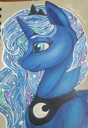 Size: 1762x2568 | Tagged: safe, artist:gleamydreams, princess luna, alicorn, blue eyes, crown, ethereal mane, female, galaxy mane, jewelry, looking away, prismacolors, regalia, solo, traditional art
