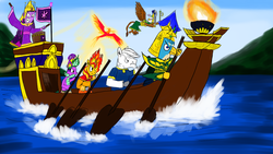 Size: 1600x900   Tagged: safe, artist:horsesplease, double diamond, gallus, gilda, philomena, spike, sunset shimmer, twilight sparkle, dragon, griffon, phoenix, pony, equestria girls, armor, axe, background gilda, boat, crown, drums, evil grin, fiery shimmer, fire, flag, flying, grin, helmet, island, jewelry, khopesh, mane of fire, mithûra, oar, paint tool sai, rabydosverse, regalia, robes, rowing, smiling, sword, torch, twilight snapple, tyrant sparkle, vozonid, water, weapon