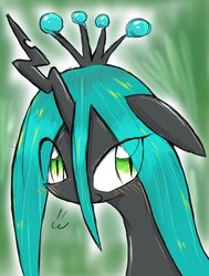 Size: 563x743 | Tagged: safe, artist:91o42, queen chrysalis, changeling, changeling queen, changelings in the comments, crown, female, jewelry, looking at you, regalia, solo