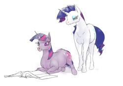 Size: 1000x704   Tagged: safe, artist:cabyowl, rarity, twilight sparkle, horse, pony, unicorn, book, duo, female, hoers, mare, prone, reading, simple background, unicorn twilight, white background
