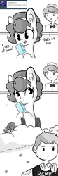 Size: 1650x4950 | Tagged: artist:tjpones, ask, canada, comic, dialogue, ear fluff, earth pony, female, food, hiding, hoof hold, horse wife, human, human male, ice cream, implied theft, male, mare, monochrome, mountie, neo noir, oc, oc:brownie bun, oc only, partial color, police officer, pony, royal canadian mounted police, safe, simple background, this will end in jail time, tumblr, white background