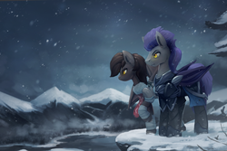 Size: 1024x682 | Tagged: safe, artist:rodrigues404, oc, oc only, oc:helios aster, oc:tuya, bat pony, pony, armor, bandage, bat pony oc, commission, night guard, raised hoof, scenery, snow