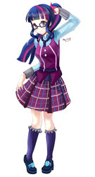 Size: 600x1109 | Tagged: safe, artist:love2eategg, sci-twi, twilight sparkle, equestria girls, anime, clothes, crystal prep academy uniform, female, glasses, high heels, human coloration, pleated skirt, ponytail, school uniform, shoes, simple background, skirt, skirt lift, socks, solo, white background