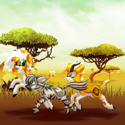 Size: 1200x1200 | Tagged: safe, artist:striped-chocolate, oc, oc only, oc:patrick poe, antelope, zebra, acacia tree, africa, female, male, rcf community, running, savanna, tree, zebra oc