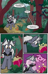 Size: 3500x5406 | Tagged: safe, artist:virmir, oc, oc only, oc:virmare, oc:virmir, comic:nature walk, bulb, cape, clothes, comic, dialogue, flower, forest, onomatopoeia, pollen, species swap, tempting fate