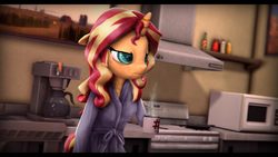 Size: 9600x5400 | Tagged: safe, artist:imafutureguitarhero, sunset shimmer, unicorn, anthro, equestria girls, 3d, absurd resolution, angry, bags under eyes, black bars, bottle, cheek fluff, chest fluff, chromatic aberration, clothes, coffee, coffee machine, cup, dressing gown, ear fluff, female, film grain, floppy ears, food, freckles, grumpy, kitchen, lidded eyes, mare, microwave, mug, painting, pan, peppered bacon, robe, sauce, signature, solo, source filmmaker, steam, stove, tail, tired