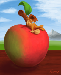 Size: 1024x1248 | Tagged: safe, artist:xormak, applejack, earth pony, pony, apple, appletini, cowboy hat, female, food, hat, mare, micro, sleeping, solo, tiny ponies