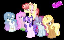 Size: 3033x1929 | Tagged: safe, artist:101xsplattyx101, oc, oc only, oc:diamond gradient, oc:lightning star, oc:lucky clover, oc:spring flame, oc:starshine century, oc:sugar cake, dracony, earth pony, hybrid, pegasus, pony, unicorn, female, mare, offspring, parent:applejack, parent:fancypants, parent:flash magnus, parent:fluttershy, parent:party favor, parent:pinkie pie, parent:rainbow dash, parent:rarity, parent:spike, parent:trenderhoof, parents:dashmagnus, parents:flashlighy, parents:flutterspike, parents:partypie, parents:raripants, parents:trenderjack, simple background, transparent background