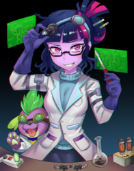 Size: 800x1018 | Tagged: anime, artist:tzc, chemical x, chromatic aberration, clothes, dog, eqg summertime shorts, equestria girls, evil grin, female, flask, goggles, grin, implied sweetie bot, lab coat, looking at you, mad scientist, mad twience, portal gun, portal (valve), rick and morty, safe, sci-twi, screwdriver, smiling, spike, spike the regular dog, tongue out, twilight sparkle