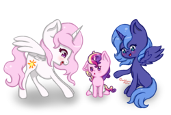 Size: 1100x740 | Tagged: alicorn, artist:gardianripu, cute, female, filly, filly celestia, filly luna, gradient background, looking at each other, mare, pink-mane celestia, pony, princess cadance, princess celestia, princess luna, s1 luna, safe, signature, spread wings, transparent background, wings, younger
