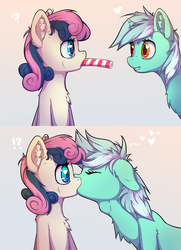 Size: 4000x5530 | Tagged: adorabon, artist:senaelik, bon bon, candy, candy cane, chest fluff, comic, cute, deepthroat, description is relevant, drawthread, earth pony, eating, eyes closed, female, food, heart, heart eyes, kissing, lesbian, lyrabetes, lyrabon, lyra heartstrings, ponified, pony, request, requested art, safe, shipping, sweetie drops, theft, throat bulge, unicorn, wingding eyes