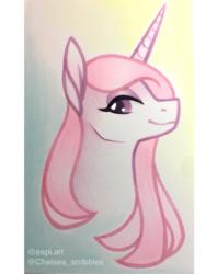 Size: 1622x2046 | Tagged: safe, artist:chelseaz123, artist:eeviart, fleur-de-lis, pony, unicorn, collar, female, mare, solo, traditional art