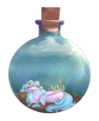 Size: 2104x2576 | Tagged: safe, artist:harmonyskish, oc, oc only, oc:moonflare, pegasus, pony, bottle, female, high res, mare, pony in a bottle, prone, rain, simple background, solo, transparent background
