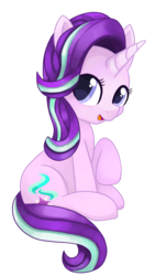 Size: 912x1620 | Tagged: artist:rivin177, cute, female, glimmerbetes, hooves, hooves up, looking at you, mare, open mouth, pony, safe, simple background, sitting, smiling, solo, starlight glimmer, transparent background, unicorn, white background