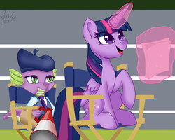 Size: 2362x1890 | Tagged: alicorn, artist:shadowreindeer, chair, director's chair, glowing horn, happy, hat, horse play, levitation, magic, safe, scene interpretation, script, spike, telekinesis, theater, twilight sparkle, twilight sparkle (alicorn)