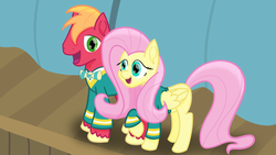 Size: 3840x2160 | Tagged: safe, artist:vogon42, big macintosh, fluttershy, female, fluttermac, male, ponytones outfit, shipping, straight