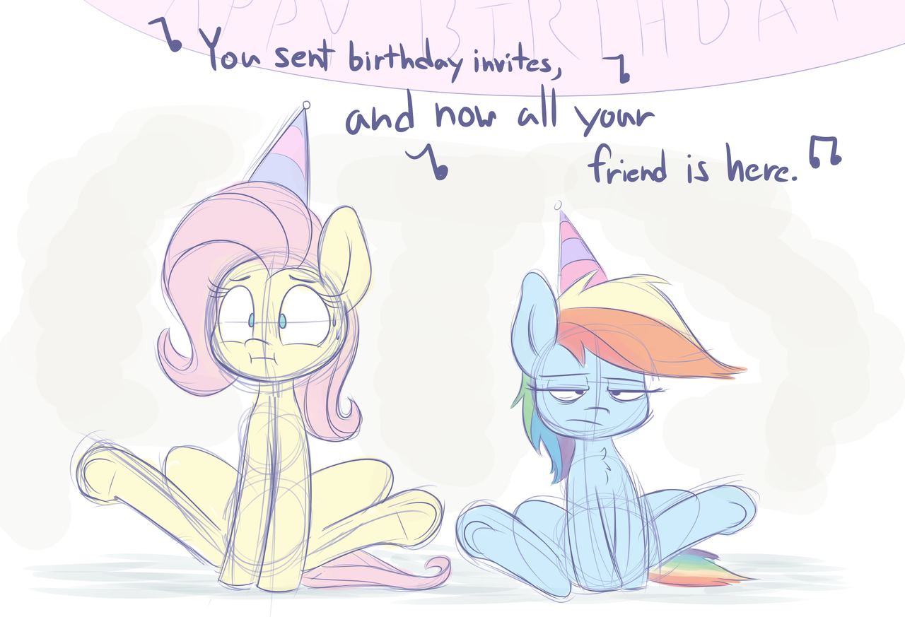 #1773071 - artist:heir-of-rick, birthday, cute, female, filly, filly  fluttershy, filly rainbow dash, fluttershy, hat, mare, ninja sex party,  party hat, ...