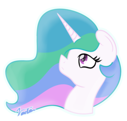 Size: 1351x1280 | Tagged: alicorn, artist:vaetan, bust, female, mare, pony, princess celestia, safe, signature, simple background, solo, transparent background