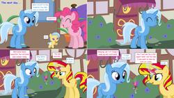Size: 2564x1444 | Tagged: safe, artist:hakunohamikage, pinkie pie, sunset shimmer, trixie, oc, oc:azure eve, pony, ask, ask-princesssparkle, female, flower, lesbian, magic, magical lesbian spawn, offspring, parent:sunset shimmer, parent:trixie, parents:suntrix, shipping, suntrix, tumblr