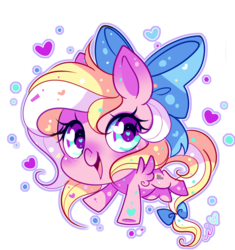 Size: 575x612 | Tagged: safe, artist:ipun, oc, oc only, oc:bay breeze, pegasus, pony, blushing, bow, chibi, cute, female, hair bow, heart, heart eyes, looking at you, mare, simple background, solo, tail bow, transparent background, wingding eyes