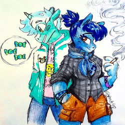 Size: 1071x1071 | Tagged: safe, artist:artflicker, blues, lyra heartstrings, noteworthy, anthro, guyra, melodyworth, rule 63, smoking