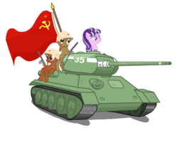 Size: 2500x2000 | Tagged: safe, artist:pizzamovies, derpibooru exclusive, starlight glimmer, earth pony, pony, unicorn, background pony, cannon, communism, cyrillic, equality, equality mark, female, flag, gun, hammer and sickle, helmet, male, mare, military, ppsh-41, russian, simple background, soviet, stalin glimmer, stallion, t-34/85, tank (vehicle), vector, weapon, white background, world war ii