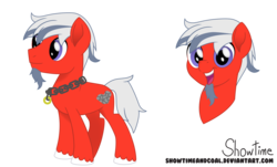 Size: 7463x4500 | Tagged: safe, artist:showtimeandcoal, oc, oc only, oc:mandaes ironheart, earth pony, pony, absurd resolution, chains, chainsaw, colt, commission, digital, digital art, facial hair, goatee, jewelry, male, movie accurate, necklace, reference, reference sheet, simple background, solo, stallion, style, transparent background, ych result