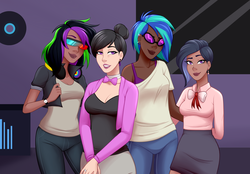 Size: 3670x2558 | Tagged: safe, alternate version, artist:emberfan11, dj pon-3, octavia melody, vinyl scratch, oc, oc:nuance harmoney, oc:sawtooth vibe, human, icey-verse, alternate hairstyle, bowtie, bra, breasts, cardigan, clothes, commission, dark skin, ear piercing, earring, family, female, glasses, hair bun, headphones, humanized, jacket, jeans, jewelry, leather jacket, lesbian, lidded eyes, lipstick, magical lesbian spawn, music studio, next generation, offspring, pants, parent:octavia melody, parent:vinyl scratch, parents:scratchtavia, piercing, record, recording studio, ring, scratchtavia, shipping, shirt, simple background, skirt, t-shirt, tanktop, underwear, wall of tags, watch, wedding ring, white background