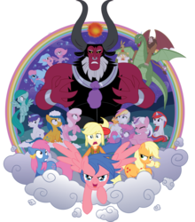Size: 800x909   Tagged: safe, artist:xkappax, applejack, applejack (g1), bowtie (g1), cotton candy (g1), firefly, first born, glory, lord tirek, medley, megan williams, moondancer (g1), mr moochick, scorpan, sealight, seawinkle, spike, twilight, twinkles, wavedancer, centaur, dragon, earth pony, gnome, human, pegasus, pony, rabbit, sea pony, seapony (g4), stratadon, unicorn, equestria girls, g1, g4, rescue at midnight castle, bubble, clothes, cloud, cotton candy, crossover, equestria girls style, equestria girls-ified, female, fin wings, fins, g1 to g4, generation leap, humans riding ponies, magic, male, mare, nose piercing, nose ring, open mouth, piercing, rainbow of light, riding, sea ponies, simple background, smiling, tirac's bag, transparent background, wings