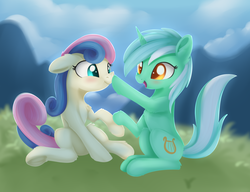 Size: 1651x1270 | Tagged: adorabon, artist:dusthiel, bon bon, boop, colored pupils, cute, earth pony, female, holding hooves, lesbian, lyrabetes, lyrabon, lyra heartstrings, noseboop, pony, safe, shipping, smiling, sweetie drops, unicorn