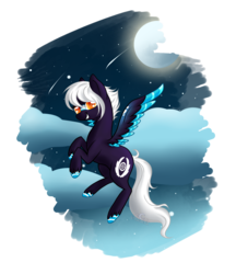 Size: 2500x2900 | Tagged: artist:aledera, female, high res, mare, moon, oc, oc only, pegasus, pony, safe, simple background, solo, transparent background, two toned wings