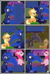Size: 3254x4837 | Tagged: alicorn, applejack, artist:gutovi, bed, broken window, comic, comic:why me!?, cushion, earth pony, flashback, mare in the moon, moon, pinkie pie, pony, princess luna, safe, sweet apple acres, tree