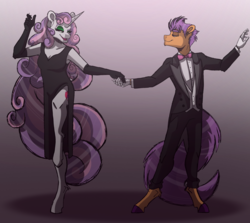 Size: 2732x2432 | Tagged: safe, artist:percy-mcmurphy, sweetie belle, tender taps, anthro, earth pony, unguligrade anthro, unicorn, clothes, colored hooves, cutie mark, dancing, dress, evening gloves, gloves, lidded eyes, long gloves, male, necktie, older, older sweetie belle, older tender taps, pants, shipping, straight, suit, tenderbelle, the cmc's cutie marks