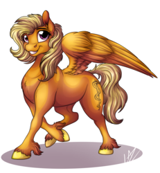 Size: 3700x4000 | Tagged: safe, artist:lupiarts, oc, oc only, pegasus, pony, chest fluff, cloven hooves, commission, female, mare, signature, simple background, smiling, solo, transparent background, unshorn fetlocks