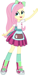 Size: 1367x2641 | Tagged: safe, artist:sketchmcreations, part of a set, fluttershy, eqg summertime shorts, equestria girls, pet project, bow, clothes, commission, converse, hair bow, open mouth, pleated skirt, raised arm, shoes, simple background, skirt, smiling, sneakers, socks, transparent background, vector