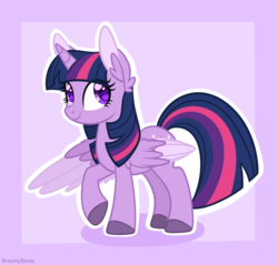 Size: 2988x2852 | Tagged: safe, artist:dreamyeevee, twilight sparkle, alicorn, pony, colored wings, colored wingtips, cute, ear fluff, female, looking at you, mare, purple background, raised hoof, simple background, smiling, solo, spread wings, twiabetes, twilight sparkle (alicorn), wing fluff, wingding eyes, wings